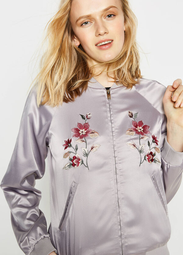 Glossy stretch jacket with embroidery | OVS