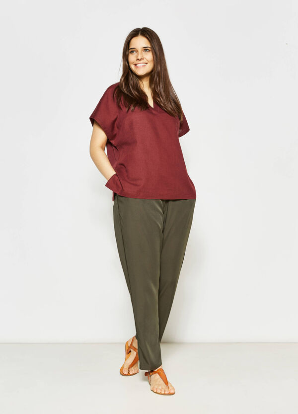 Curvy blouse in linen and cotton | OVS