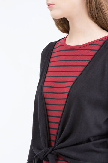 Cropped cardigan with knot