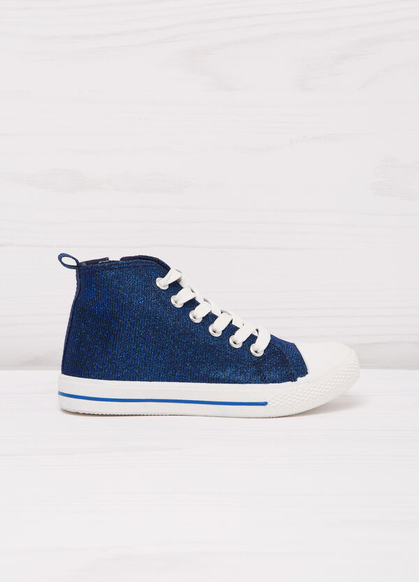 High-top sneakers with lurex and zip | OVS