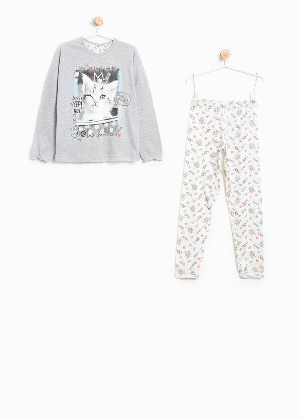 100% cotton pyjamas with kitten print | OVS