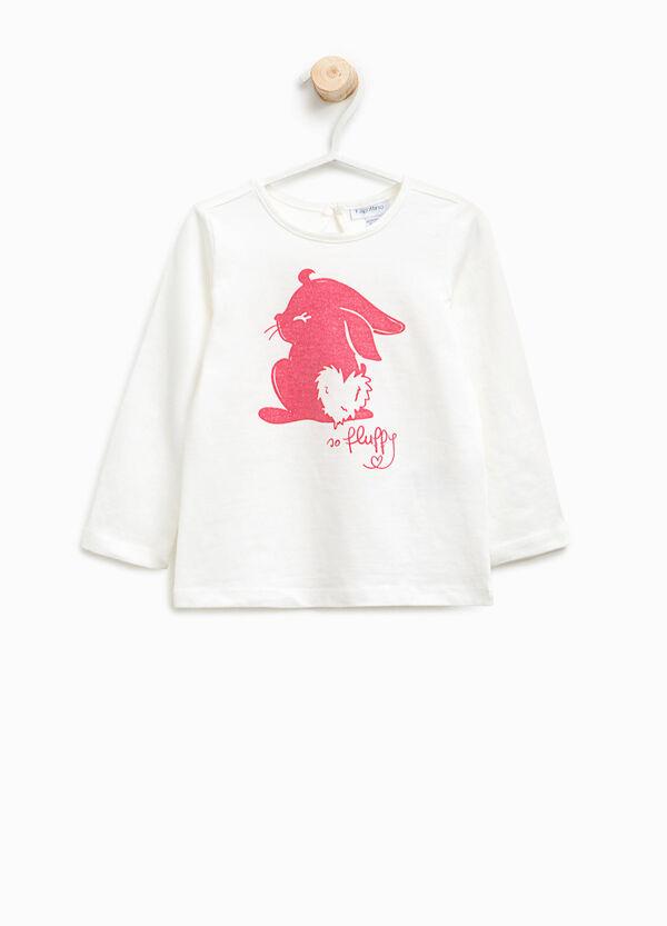 T-shirt in cotone stampa coniglietto | OVS