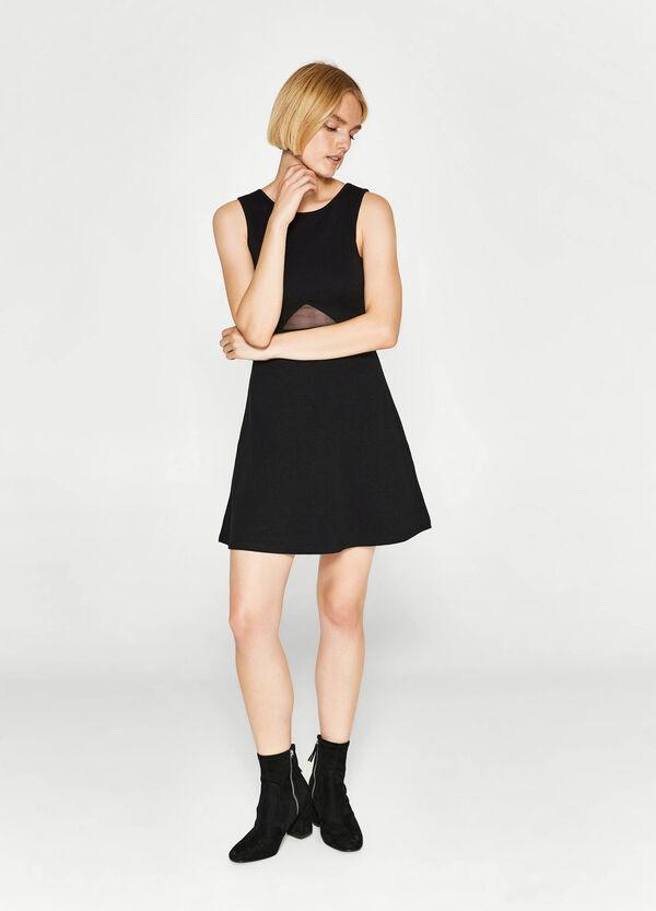Cotton dress with semi-sheer insert | OVS