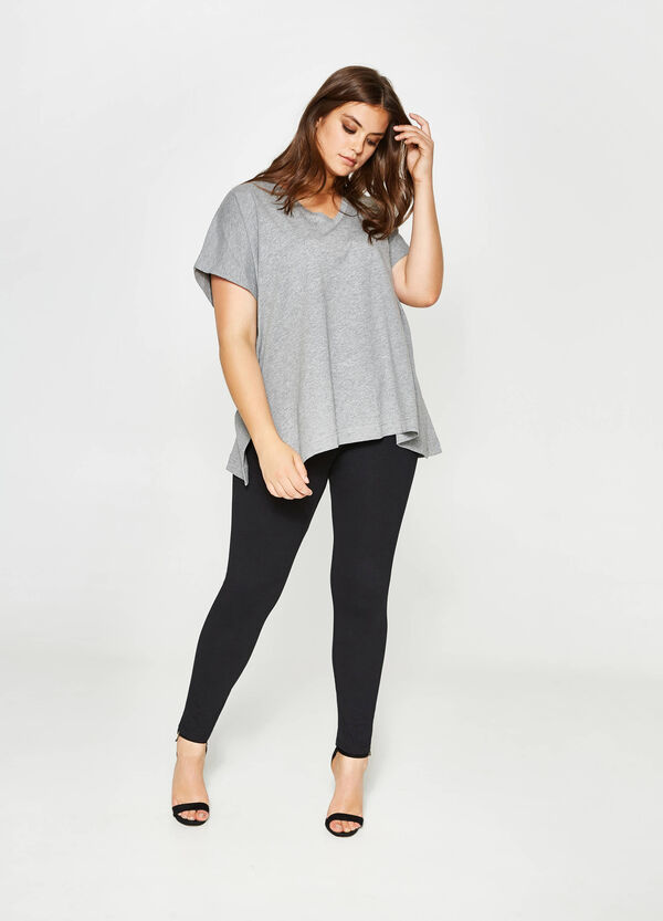 Curvy cotton T-shirt with splits | OVS
