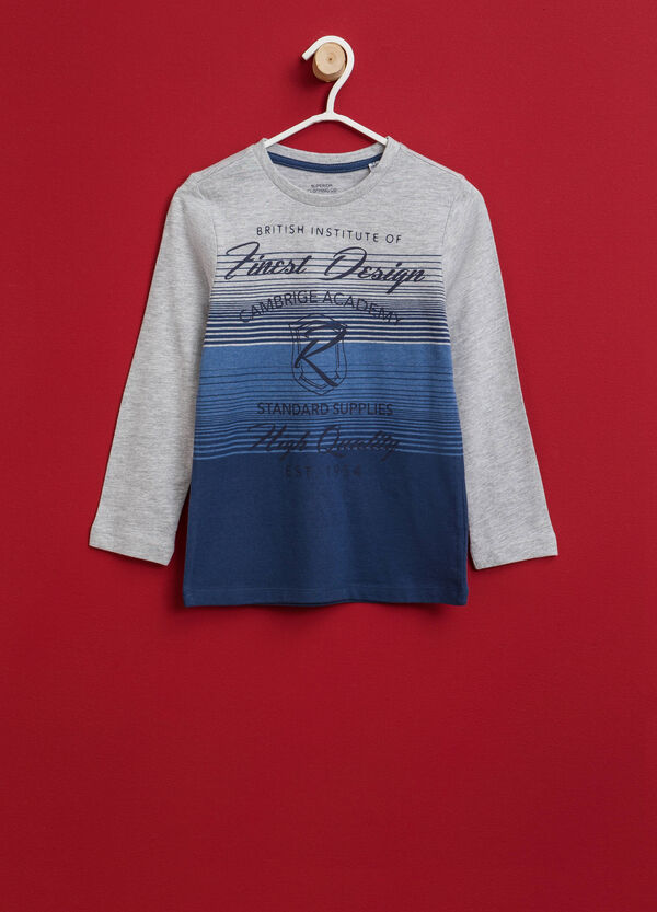 T-shirt a righe con stampa lettering   OVS