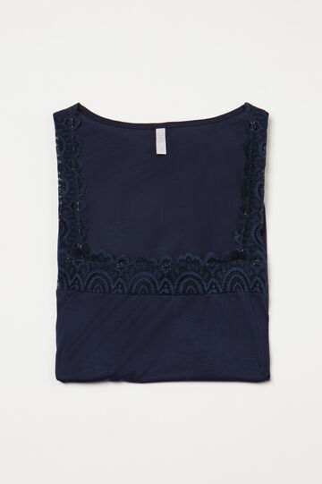 Pyjama top in 100% viscose and lace