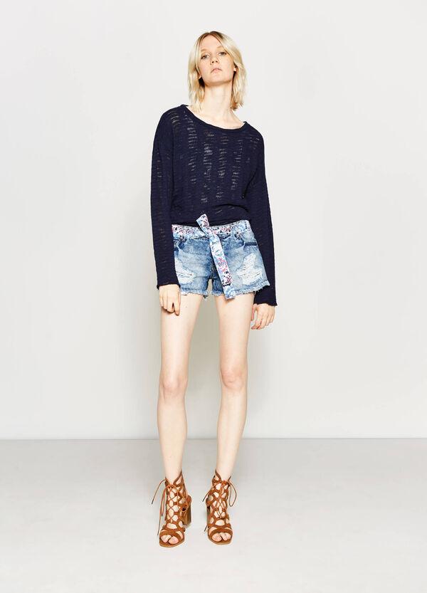 Shorts di jeans con cintura fantasia | OVS