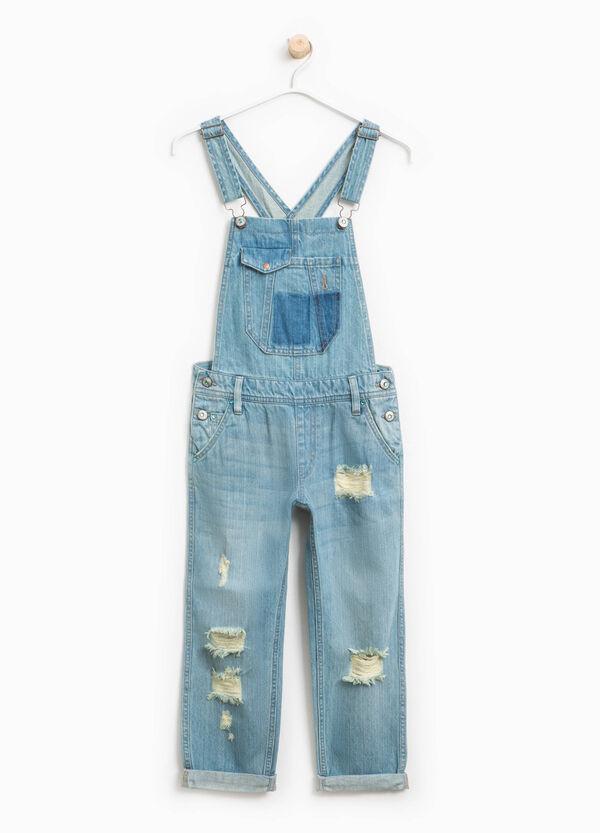 Salopette di jeans baffature e strappi | OVS