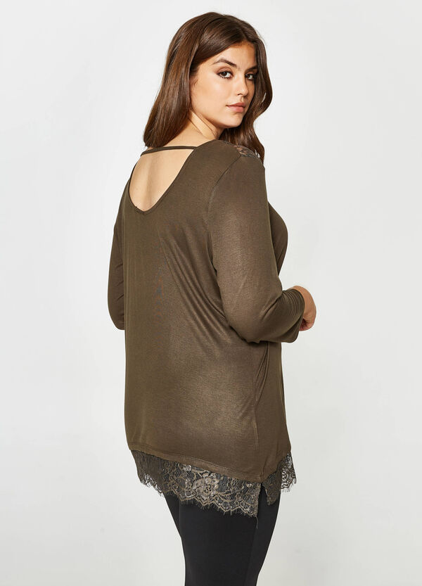 Curvy T-shirt in 100% viscose with lace | OVS