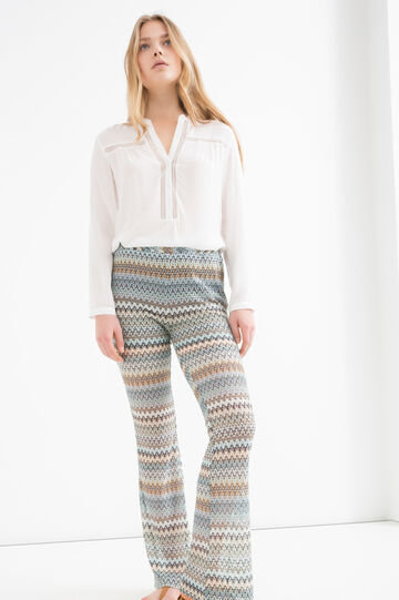 Stretch patterned flared trousers