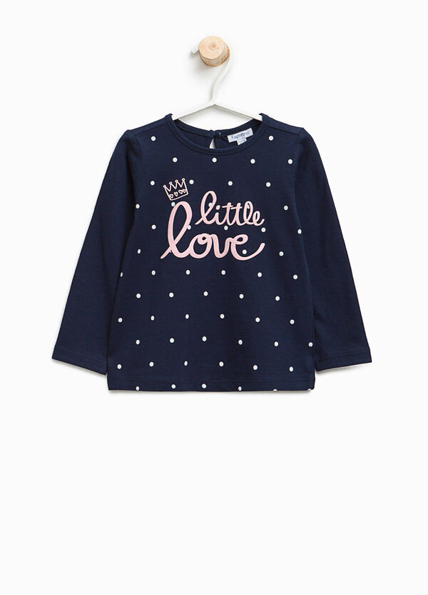 Cotton T-shirt with lettering and polka dot print | OVS