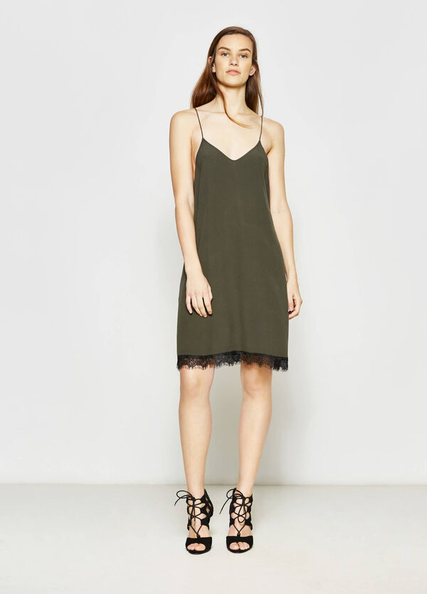 Dress with V neck on front and back   OVS