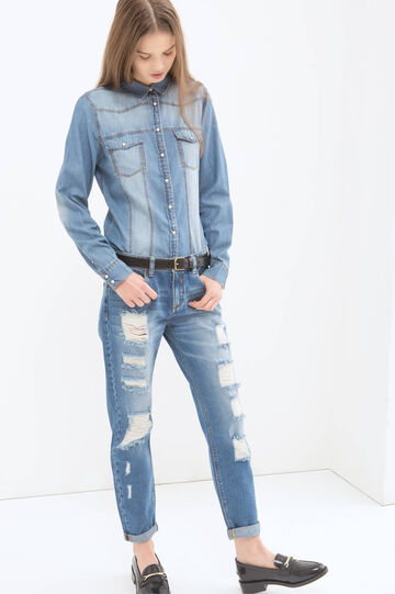 Denim shirt with faded effect