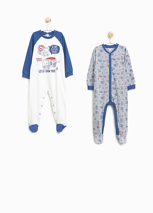 Set of two organic cotton pyjama onesies | OVS