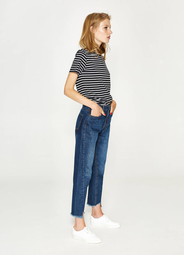 Mom-fit jeans with fringed hem | OVS