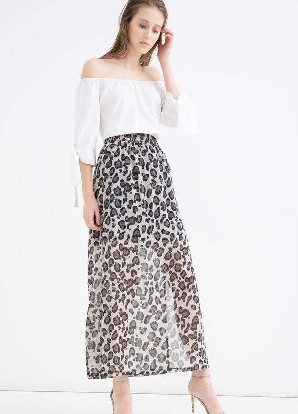 Long lightweight skirt with animal print | OVS