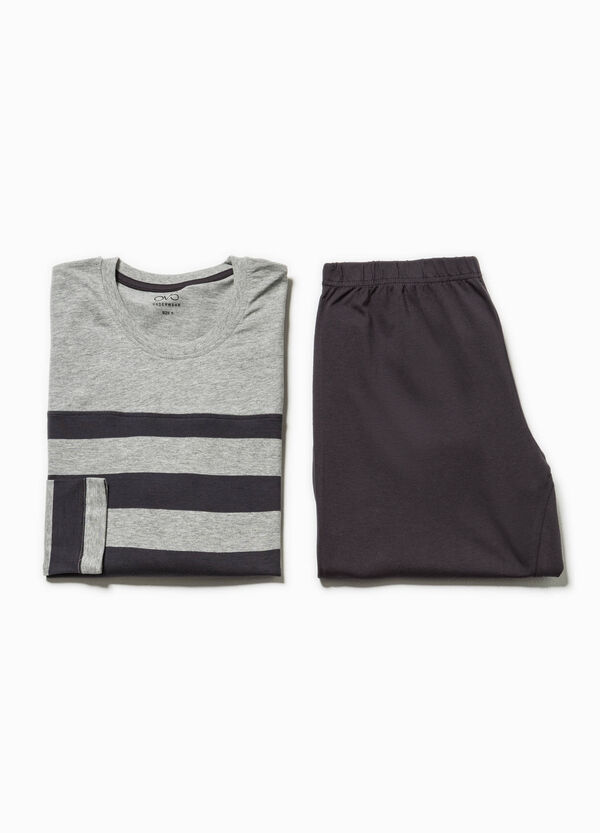 Pyjamas in 100% striped cotton with crew neck | OVS