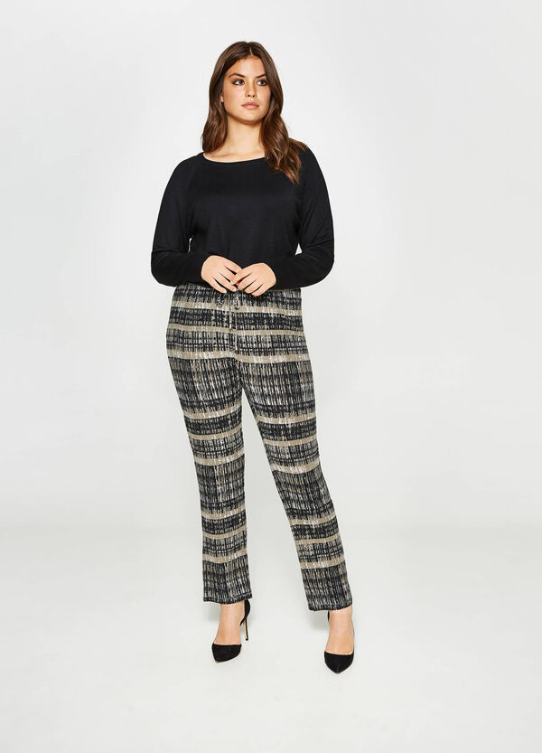 Curvy trousers with striped print | OVS