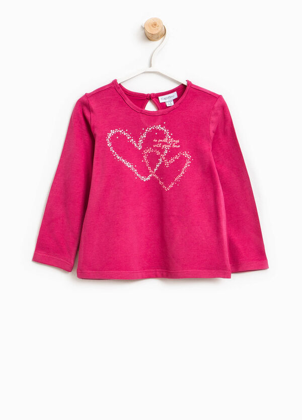 Cotton T-shirt with hearts print | OVS