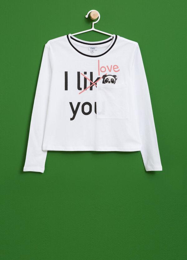 T-shirt in cotone stampa e paillettes | OVS