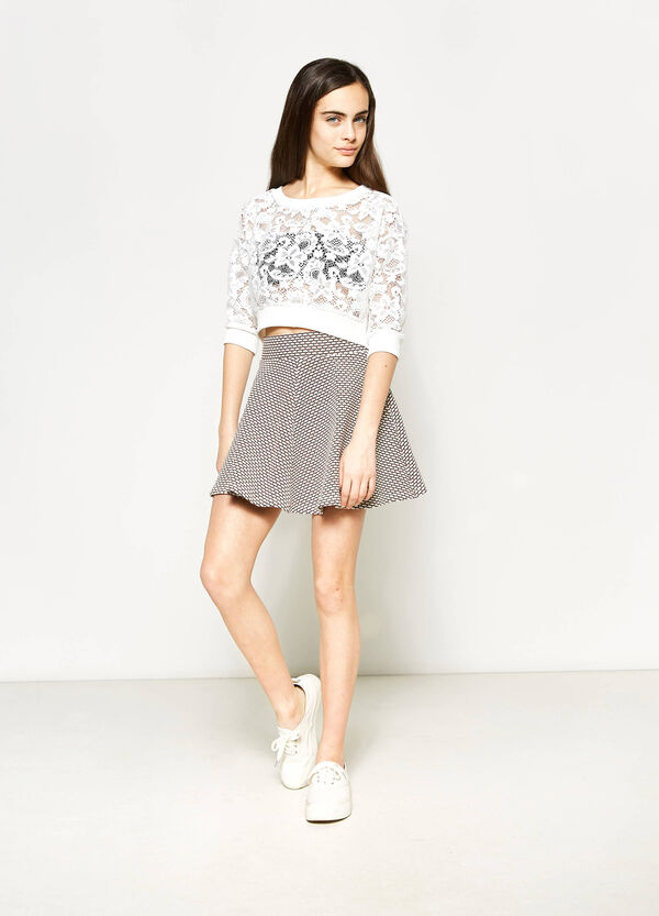 Teen crop sweatshirt in openwork lace | OVS
