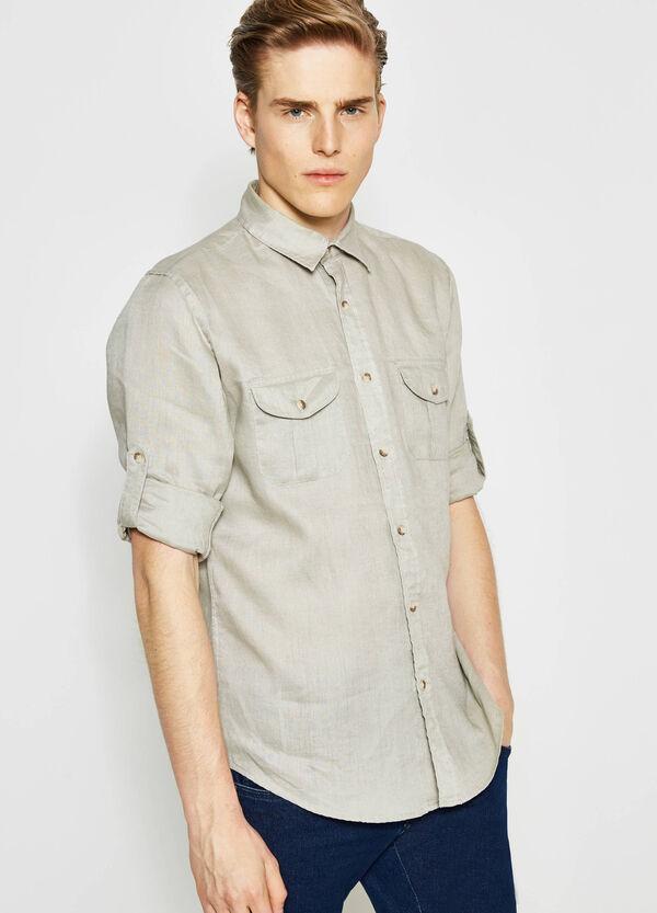Camicia casual in lino con taschino   OVS