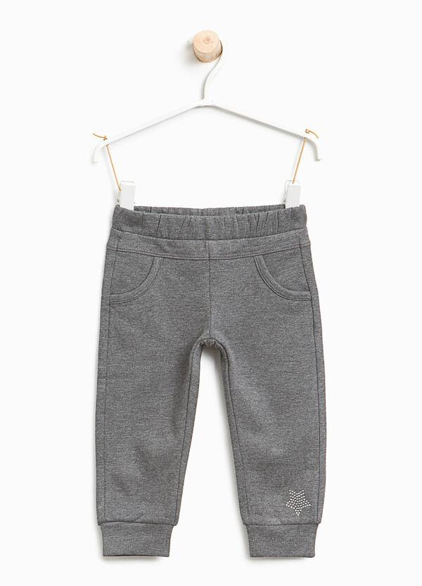 Pantaloni tuta in cotone stretch con strass | OVS