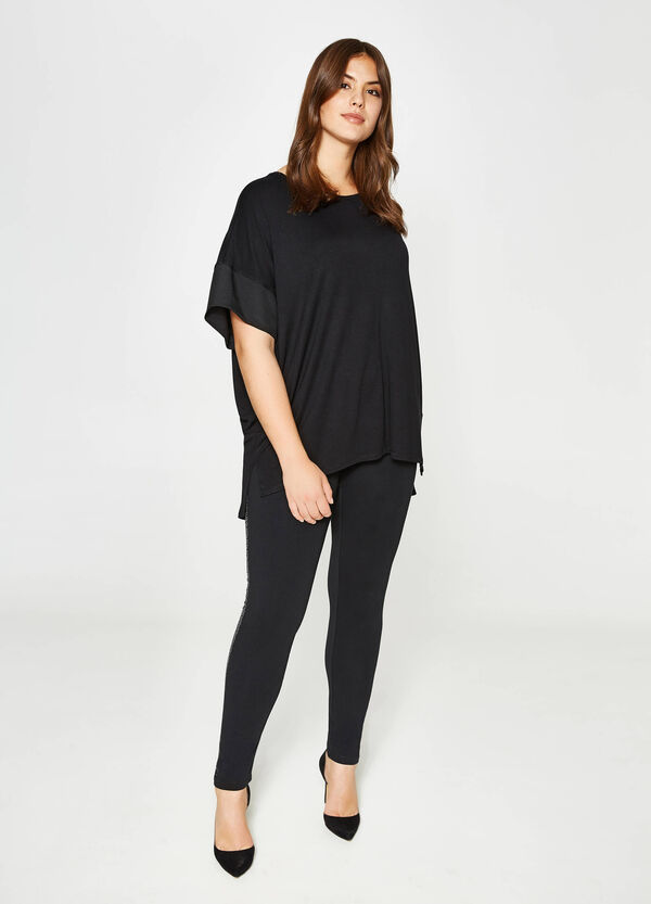 Curvy viscose T-shirt with asymmetric hem | OVS