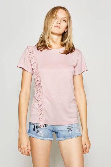 Cotton T-shirt with flounces