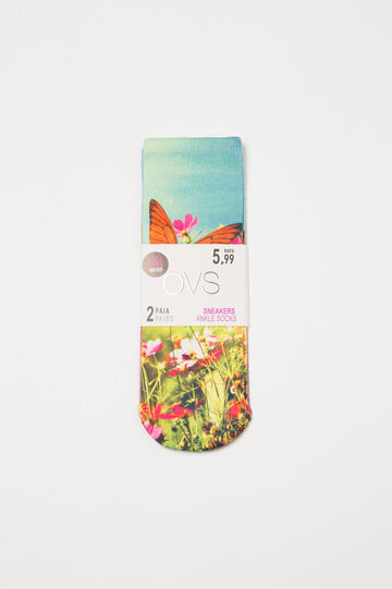 Two-pair pack stretch socks with print