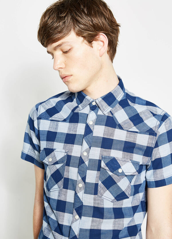 G&H check casual shirt in slub cotton | OVS