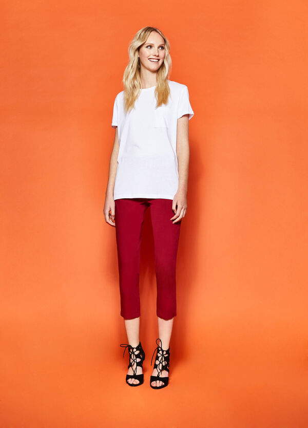 Pantaloni crop stretch con zip | OVS