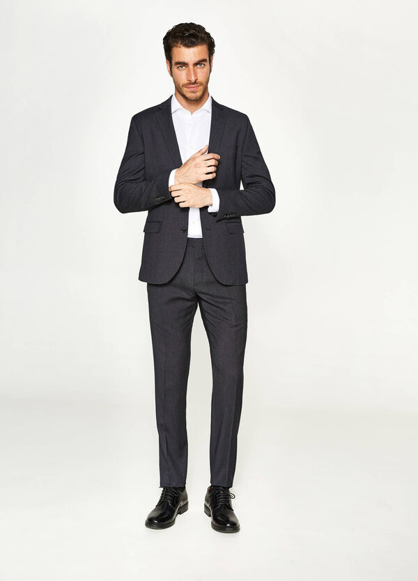 Slim-fit viscose suit with micro polka dots | OVS