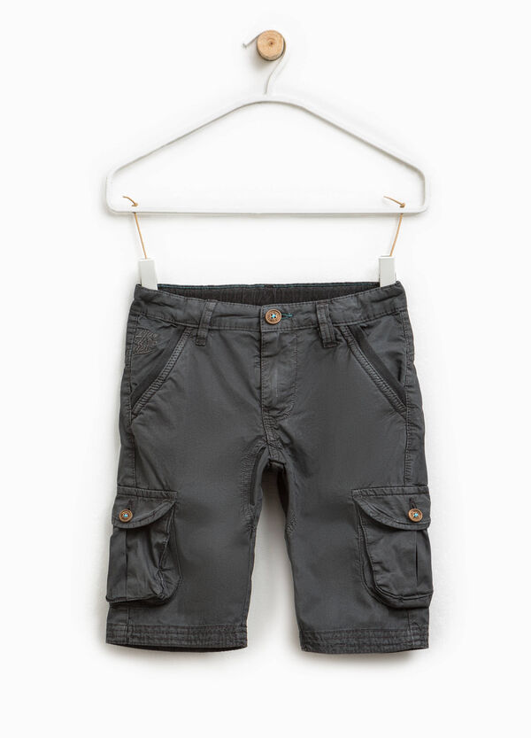 Cargo-cut Bermuda chinos with embroidery   OVS