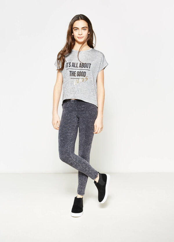 Teen stretch mélange T-shirt with print | OVS