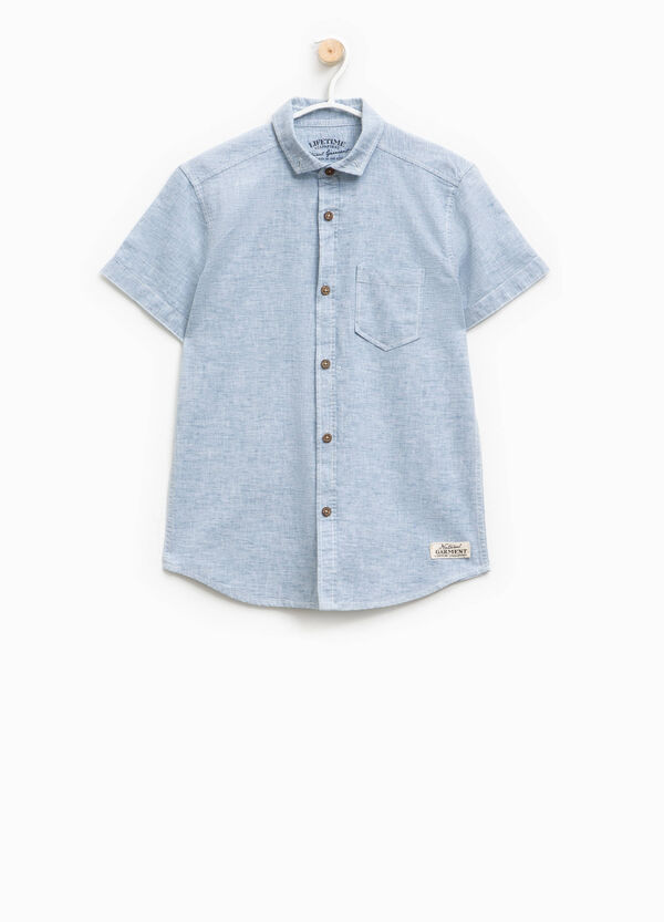 Camicia rigata in lino con taschino | OVS