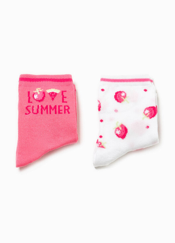 Two-pair pack solid colour and patterned socks | OVS