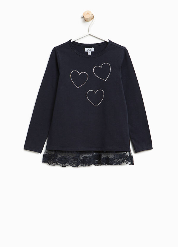Cotton T-shirt with lace and diamantés | OVS