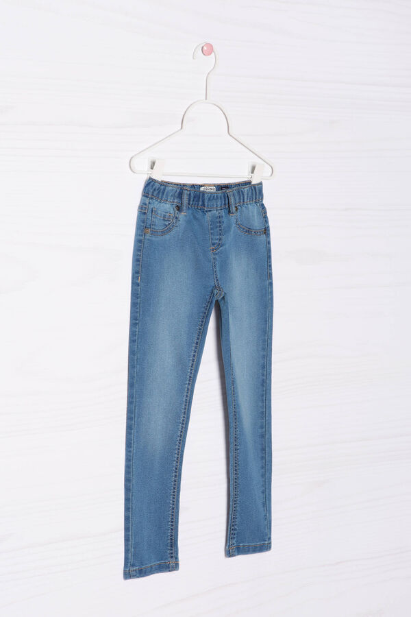 Faded cotton blend jeggings. | OVS