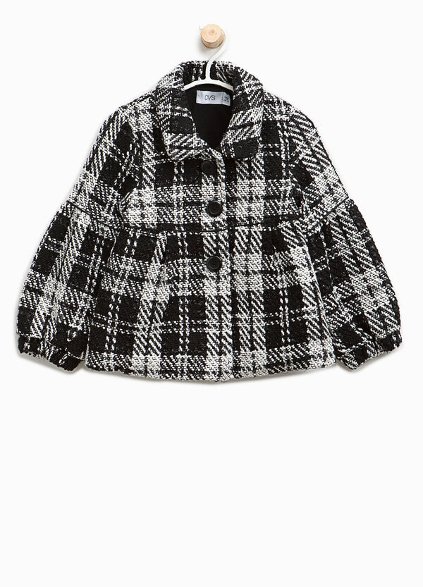 Tartan patterned coat with collar | OVS