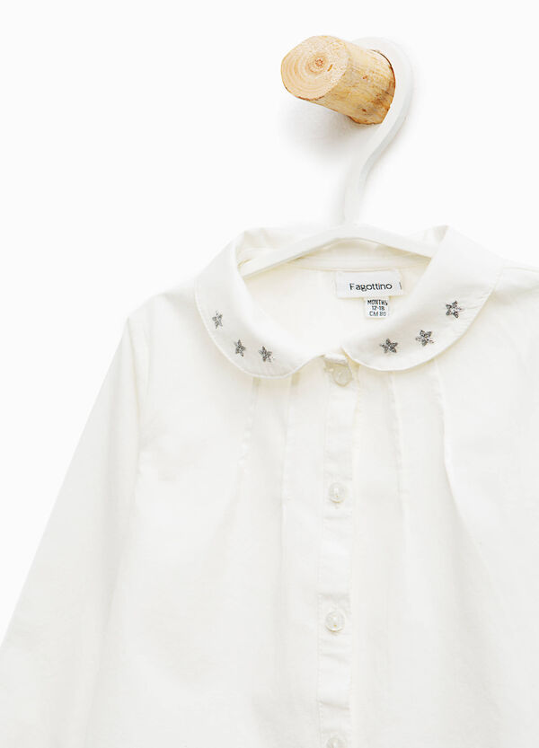 Cotton shirt with embroidered stars | OVS