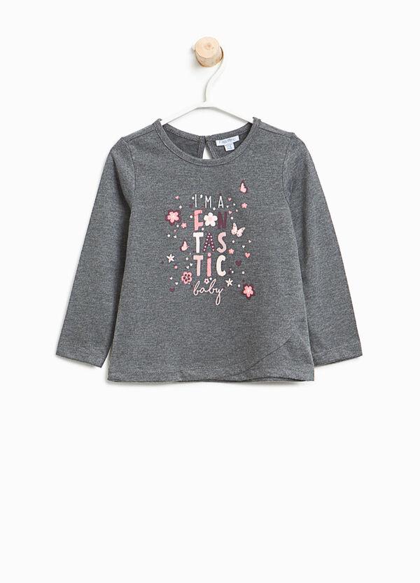 T-shirt cotone stampa lettering glitterata | OVS