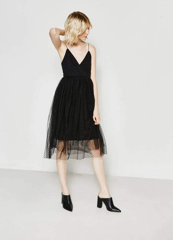 Cotton dress with speckled tulle | OVS
