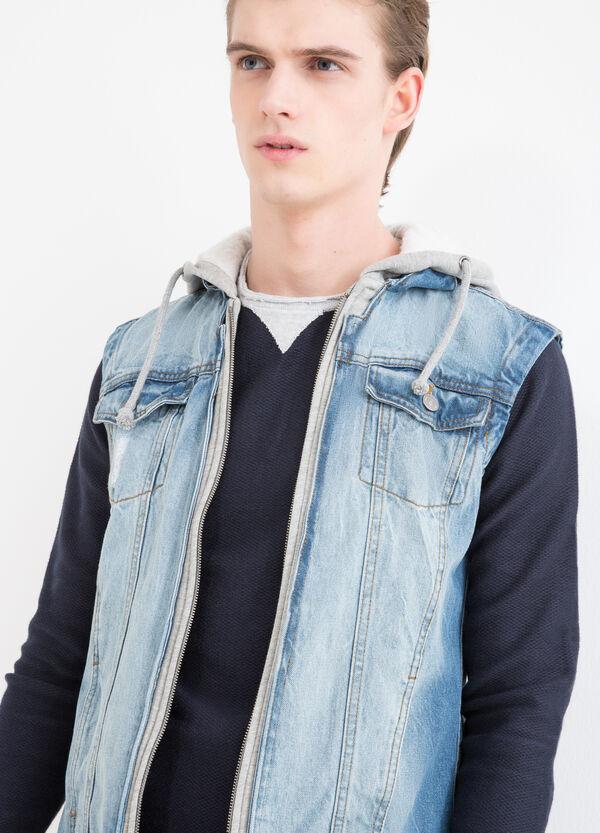Gilet di jeans cappuccio in felpa | OVS