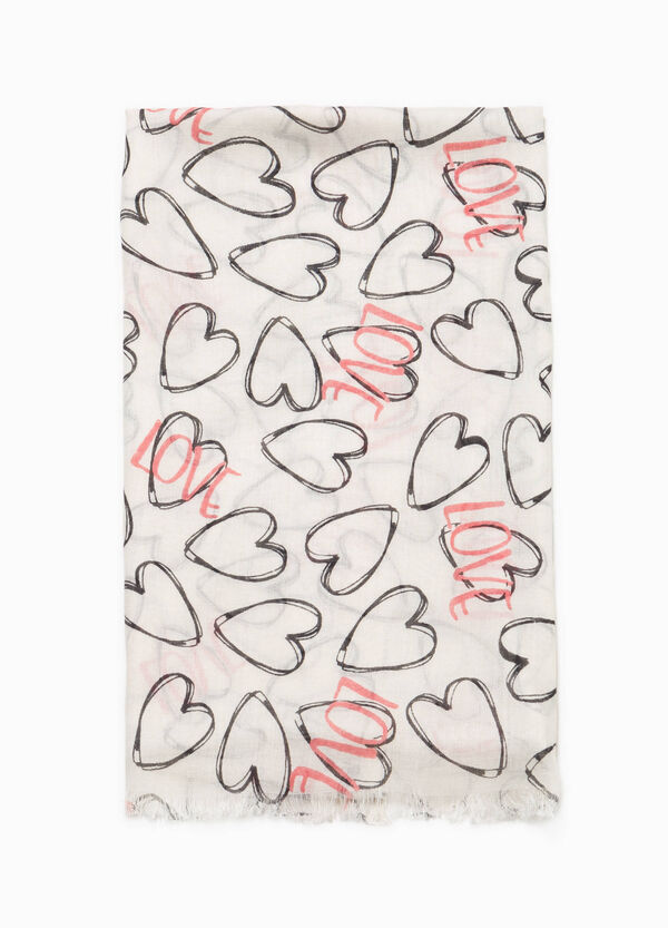 Pashmina in viscose with hearts pattern | OVS