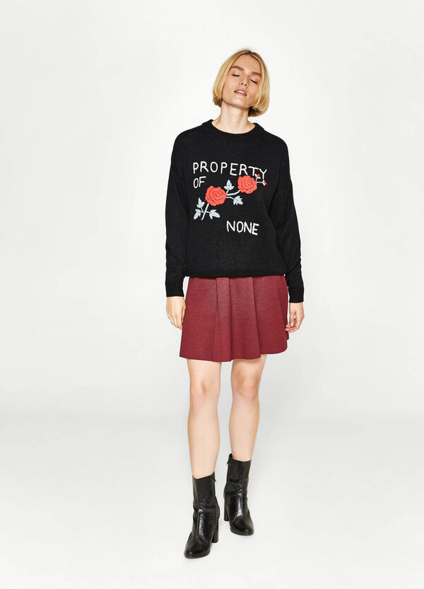 Knitted pullover with embroidery | OVS