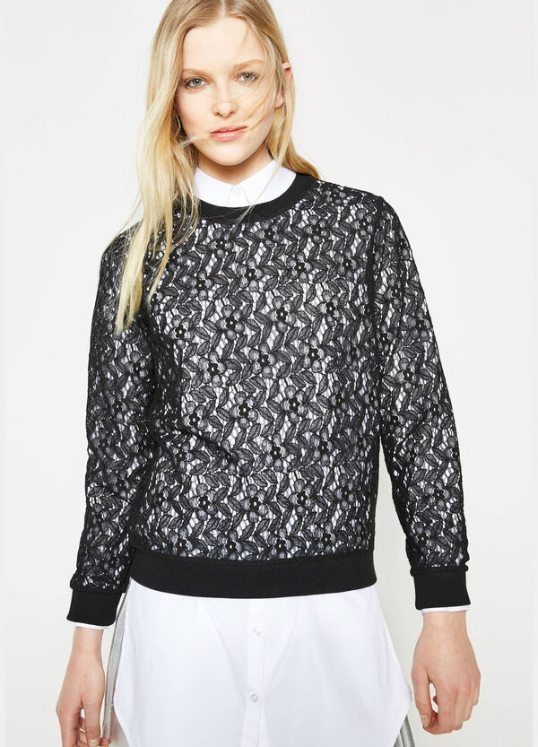 Crew-neck sweatshirt in semi-sheer lace | OVS