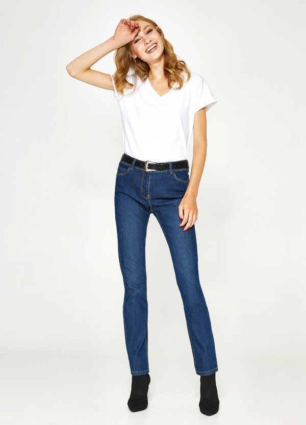 Solid colour regular-fit stretch jeans | OVS