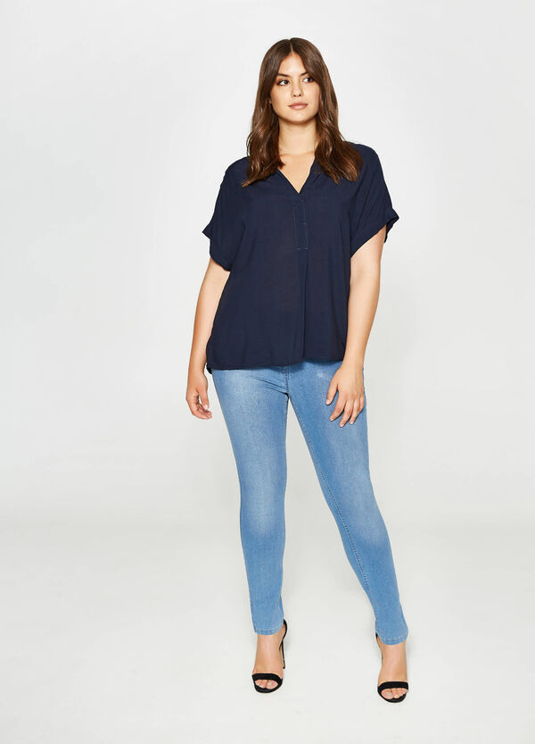 Curvy V-neck cotton blouse | OVS