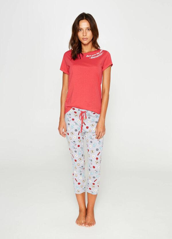 Cotton and viscose patterned pyjamas | OVS